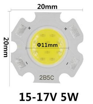 LED dioda 5W COB bílá teplá 120lm/3200K
