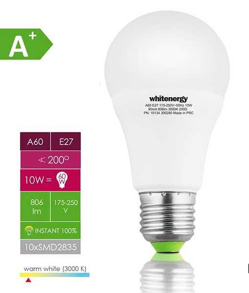 Žárovka LED 10W 220V bílá tep E27 806lm