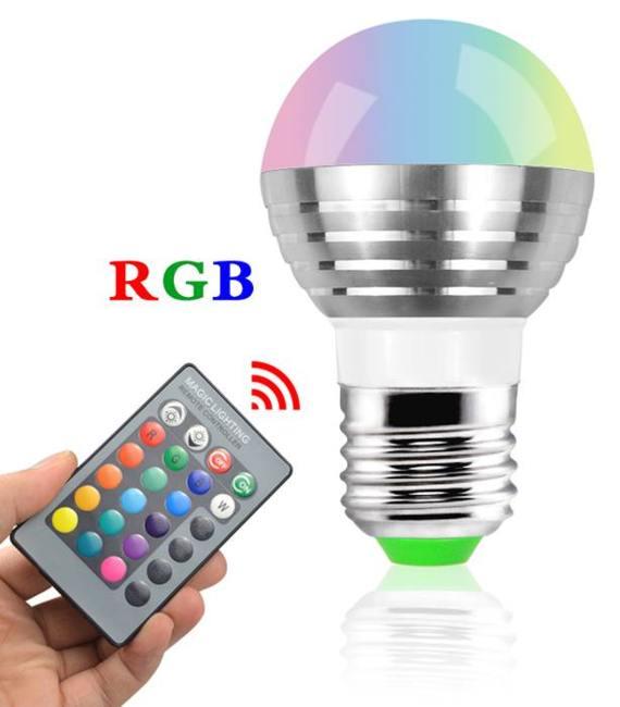 Žárovka RGB 3W 230V/E27 kulatá + dálkový ovládač