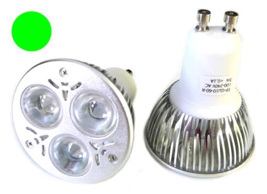 Žárovka 3xLED 220V/GU10 3W - zelená