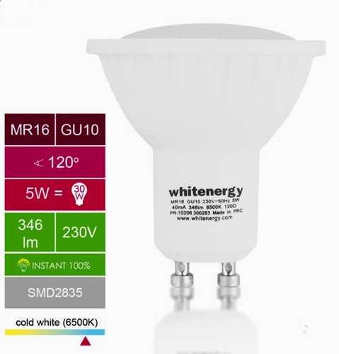 Žárovka 10xLED 220V/GU10 5W 346lm - bílá studená
