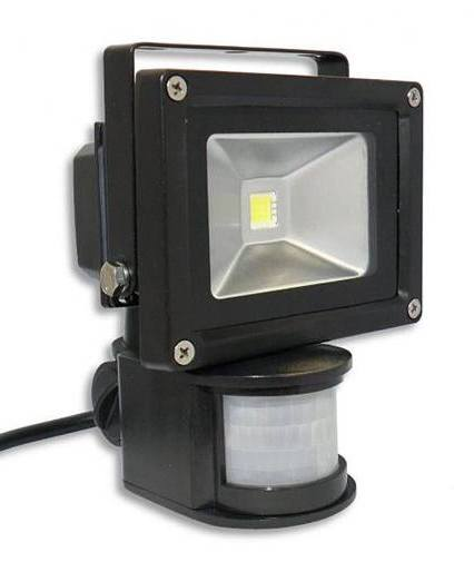 LED reflektor 10W 220V + senzor PIR 950lm - bílá studená COB Epistar IP65