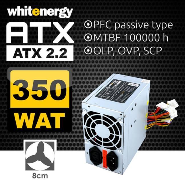 Zdroj PC 350W ATX 2.2 P4 vent.8cm P4,SATA,PCI BOX Whitenergy