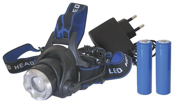 Svítilna - čelovka 1xLED CREE XM-L 3W + 2x18650 baterie+nabíječka