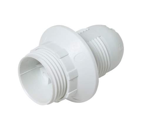 Plastová 2.dílná objímka E14 + kroužek bílá uch.:plast.závit M10x1