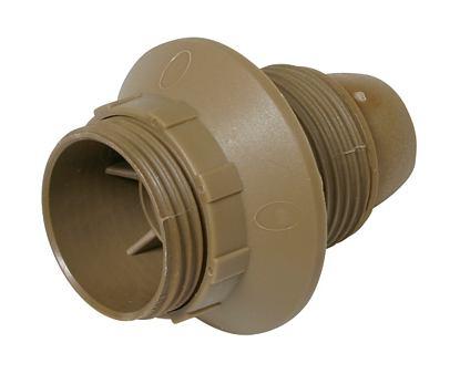 Plastová 3.dílná objímka E14 + kroužek zlatá uch.:kovový závit M10x1