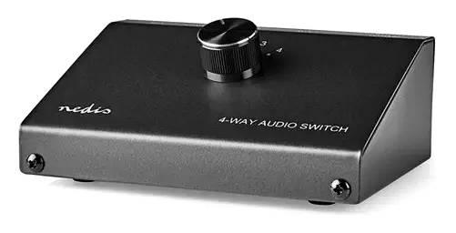 Audio přepinač 4.vstupů(3 páry RCA z. + j.3.5 z./1.výstup(pár RCA)