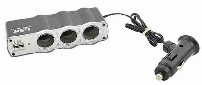 GT Adaptér do auto zapalovače 3xzásuvka+USB 12V/24V/5A, 5V/0.5A