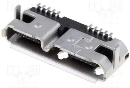 Zásuvka USB B micro SMT (USB 3.0) - plošný spoj