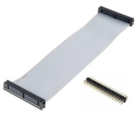 Kabel GPIO pro Raspberry B+ - 2xzásuvka (40pin) 20cm šedý + piny