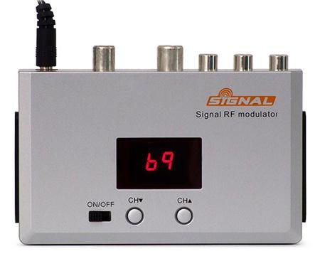 TV modulátor (21-69K)-B/G 5,5MHz vstup:3xcinch+scart výstup: scart+RF silver