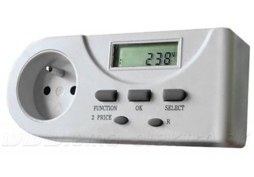 Osobní zás.elektroměr DT21 digit.měří V,A,W,VA,kWh,doba připoj.,max.měř.zátěž 3600W 16A