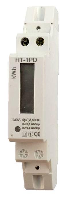 Elektroměr 1F na DIN lištu jednofázový jednosazbový podružný elektroměr HT-1PD