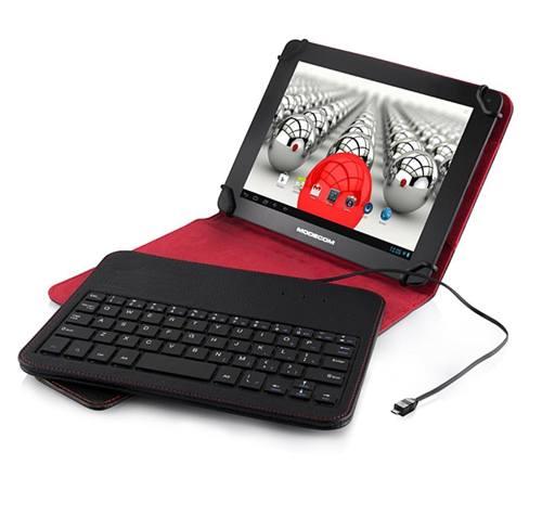 """Pouzdro + klávesnice pro Tablet 7-8"""" Modecom, micro USB, černo-červený"""