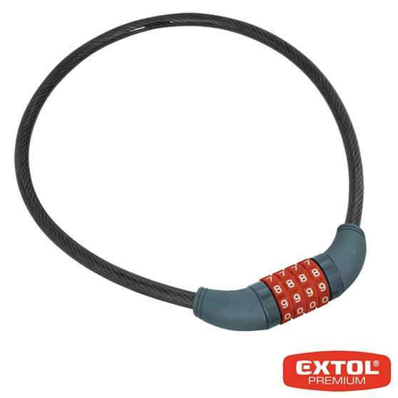 Zámek na kolo - lanko 10x650mm, kódový EXTOL
